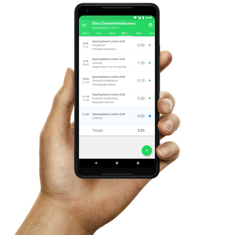 De Android urenregistratie-app van Keeping