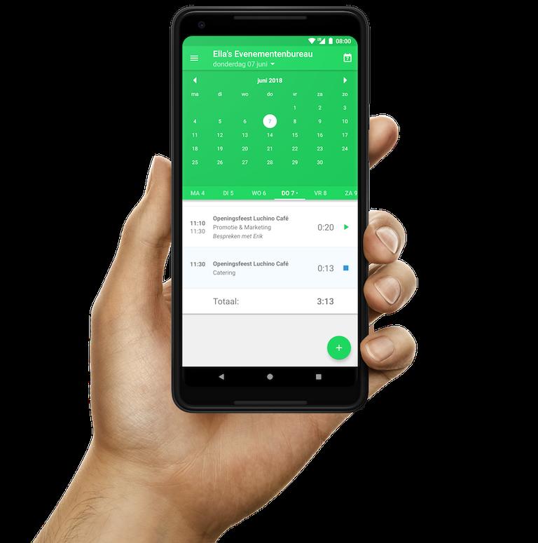 Snel van datum wisselen tijdens urenregistratie in de Android-app van Keeping