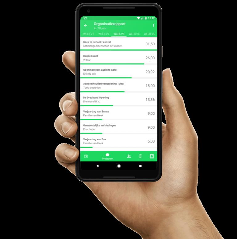 Voorbeeldrapportages van een urenoverzicht in de Android-applicatie van Keeping