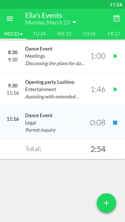 Keeping timesheet for time registration in our Android app