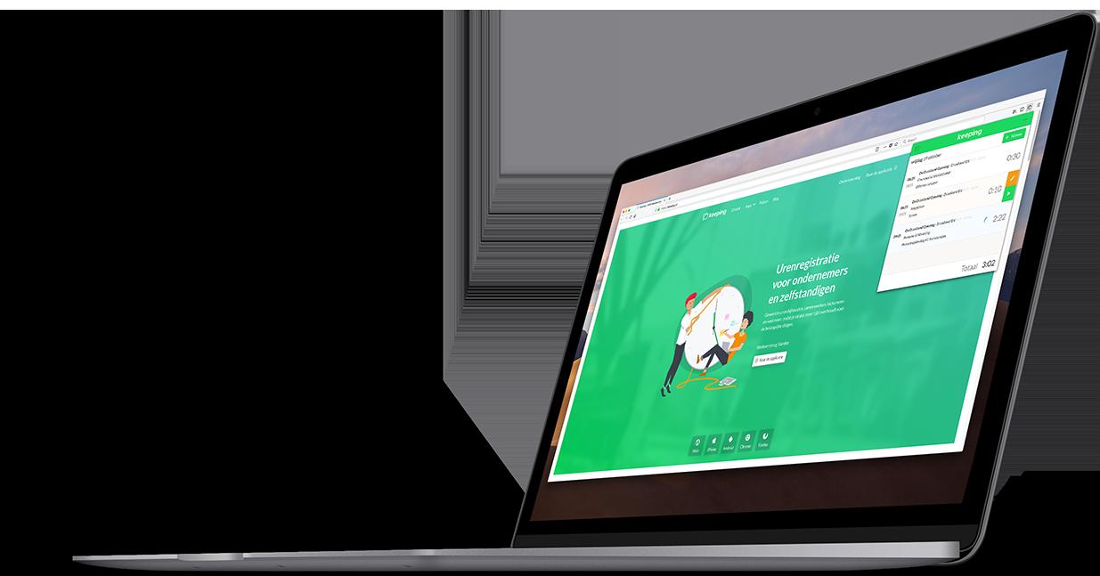 De Keeping Add-on voor Firefox, afgebeeld vanaf de zijkant met een urenregistratie voorbeeld