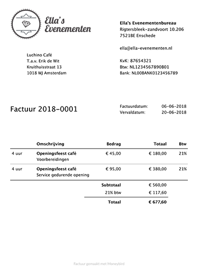 Voorbeeldfactuur in Moneybird, gemaakt op basis van de uren gereigstreerd in voorbeeldorganisatie Ella's Evenementen