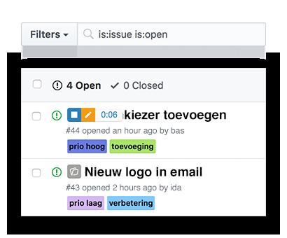 Tijdregistratie bewerken vanuit GitHub issues