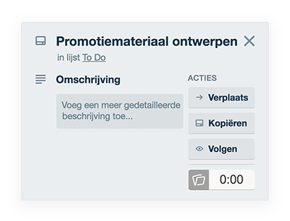Tijdregistraties in Trello todo