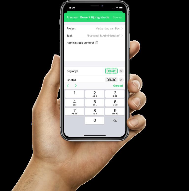 Snel van datum wisselen door op de datum te drukken in de iPhone urenregistratie-app van Keeping