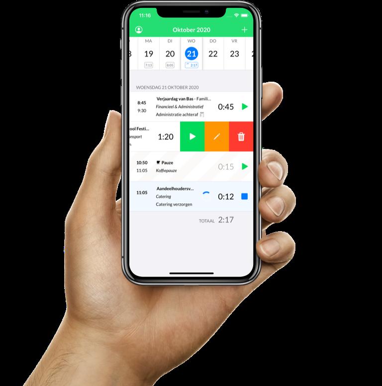 De urenregistratie iPhone-app van Keeping