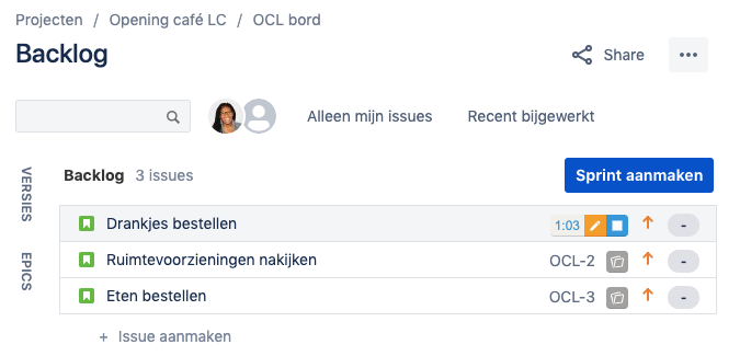 De Keeping-knop in een lijst met issues in Jira modern